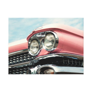 Headlamp OF at old pink car Canvas Print
