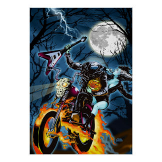 Headless Biker Horseman Poster