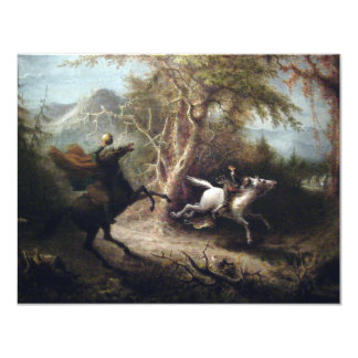 Headless Horseman and Ichabod Crane on Hallows Eve 4.25x5.5 Paper Invitation Card