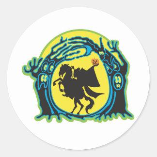 headless horseman classic round sticker