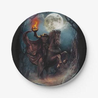 Headless Horseman Halloween paper plate