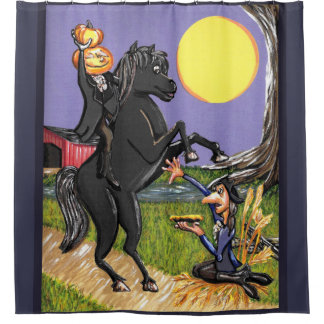 Headless Horseman Ichabod Crane shower curtain