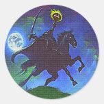 Headless Horseman in the Blue Light Classic Round Sticker