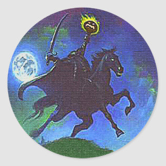 Headless Horseman in the Blue Light Classic Round Sticker