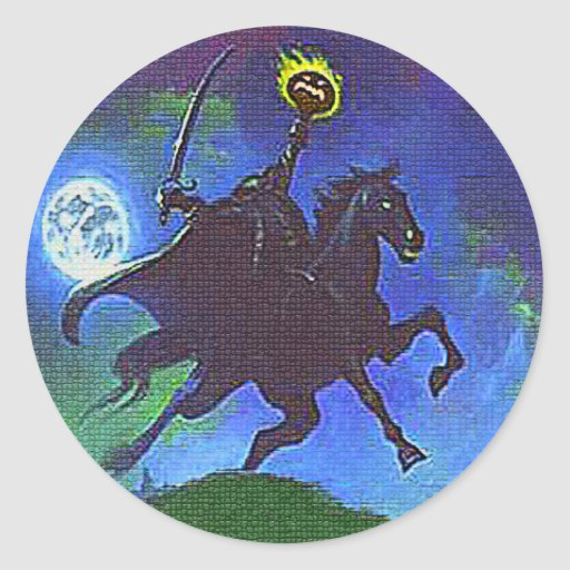 Headless Horseman in the Blue Light Round Stickers