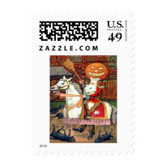 Headless Horseman Jack O Lantern Black Cat Postage