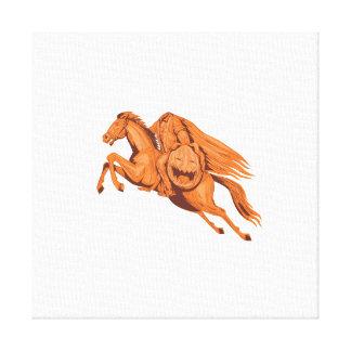Headless Horseman Pumpkin Head Drawing Canvas Print