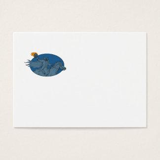 Headless Horseman Pumpkin Head Horse Oval Drawing Business Card