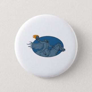 Headless Horseman Pumpkin Head Horse Oval Drawing Button