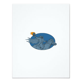 Headless Horseman Pumpkin Head Horse Oval Drawing Card