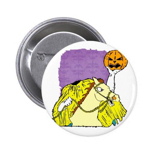 headless horseman pumpkin head yellow 2 inch round button