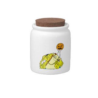 headless horseman pumpkin head yellow candy dishes