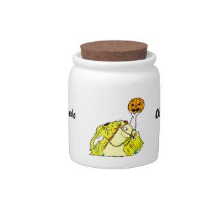 headless horseman pumpkin head yellow candy jar