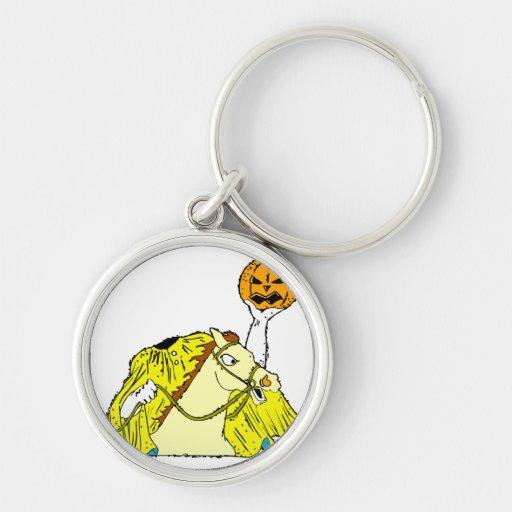 headless horseman pumpkin head yellow key chain