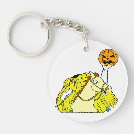 headless horseman pumpkin head yellow acrylic keychains