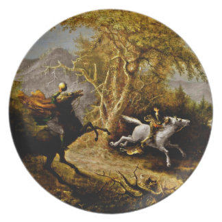 Headless Horseman Pursuing Ichabod Crane Dinner Plate