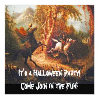 "Headless Horseman Pursuing Ichabod Crane 5.25"" Square Invitation Card"