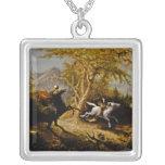 Headless Horseman Pursuing Ichabod Crane Square Pendant Necklace