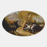 Headless Horseman Pursuing Ichabod Crane Oval Sticker