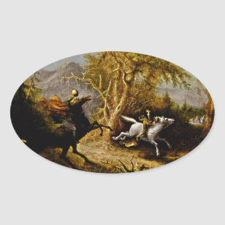 Headless Horseman Pursuing Ichabod Crane Oval Sticker