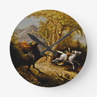 Headless Horseman Pursuing Ichabod Crane Round Clock