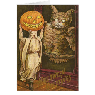 Headless Man Jack O' Lantern Owl Pumpkinhead Greeting Card