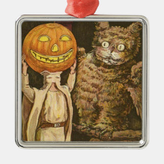 Headless Man Jack O' Lantern Owl Pumpkinhead Metal Ornament