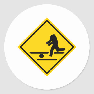 Headless Pedestrian Crossing Classic Round Sticker