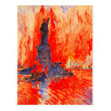 Headless Statue of Liberty with NYC in flames Postcard