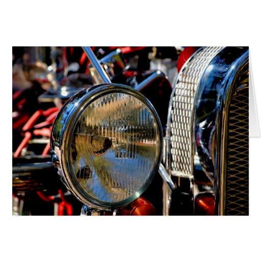 Headligh clásico del coche del vintage del padre tarjeta de felicitación