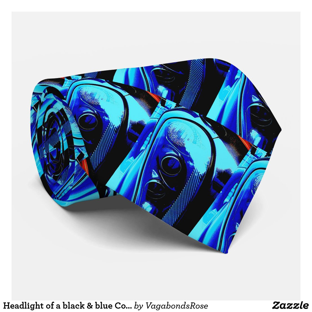 Headlight of a black & blue Corvette Z06 Tie