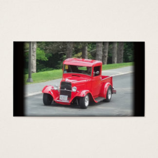Headlights and grill on vintage classic pickup business card