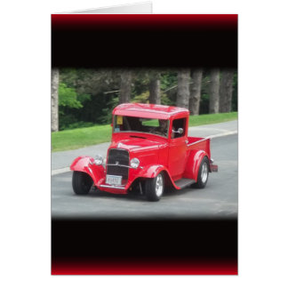 Headlights and grill on vintage classic pickup card