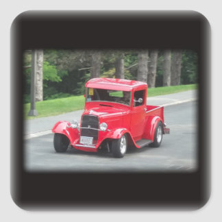 Headlights and grill on vintage classic pickup square sticker