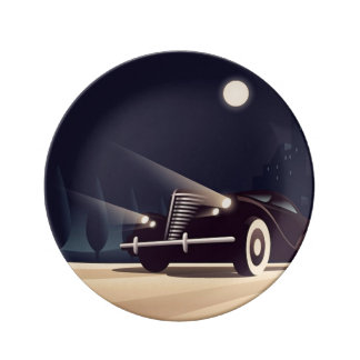 Headlights in the moonlight plate