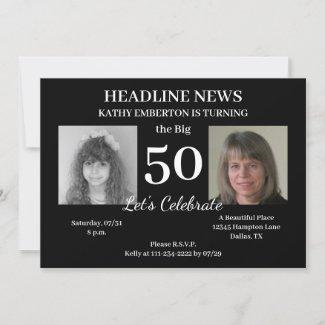 Headline News Newspaper 50th Photo Birthday Party Invitation