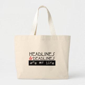 Headlines & Deadlines Jumbo Tote Bag