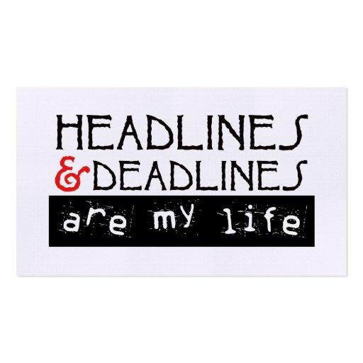 Headlines & Deadlines Business Cards