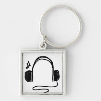 Headphone Doodle Black on White Silver-Colored Square Keychain