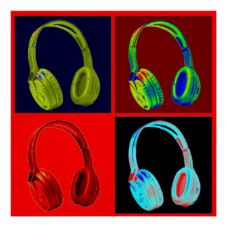 Headphone Four Colors Pop Art Poster Print
