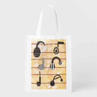 Headphone Musical Reusable Bag Grocery Bag