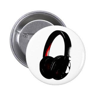 Headphone Pop Art Head Phone Pinback Button