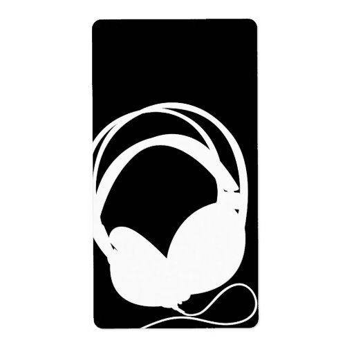 Headphone Silhouette Sticker Label