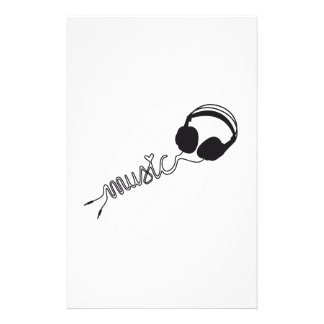 headphone silhouette with music and heart stationery