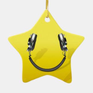 Headphone Smile Ceramic Ornament