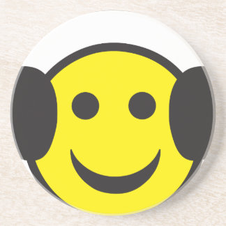 Headphone Smiley Face Rave Drink Coasters
