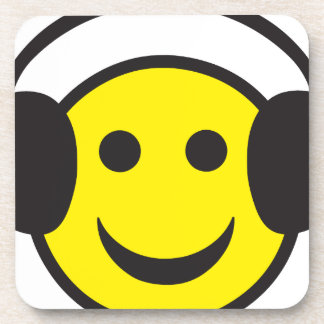 Headphone Smiley Face Rave Beverage Coaster