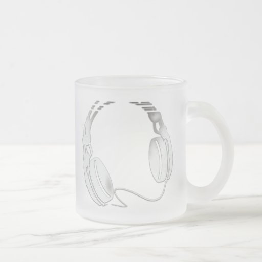 Headphones 10 Oz Frosted Glass Coffee Mug