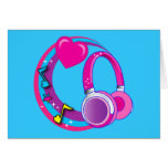 Headphones and Hearts Stationery Note Card