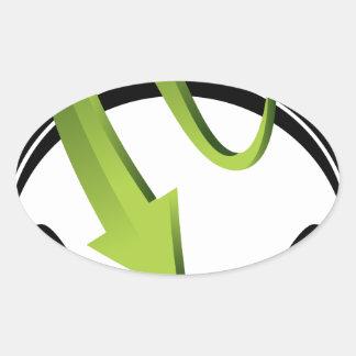 Headphones Arrow Icon Oval Sticker